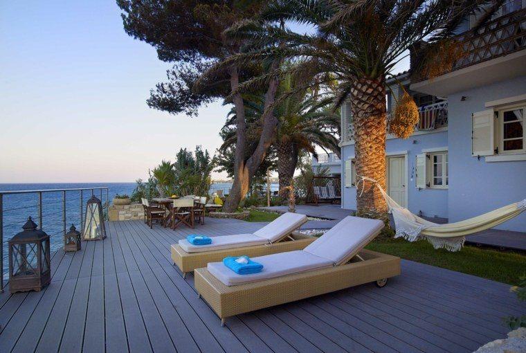 suelo madera terraza moderna tumbonas hamaca ideas