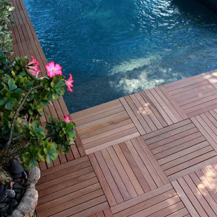 suelo madera terraza planificada piscina ideas