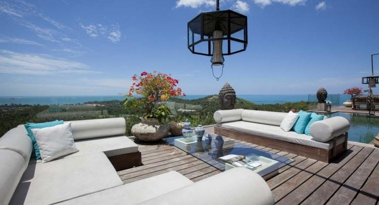 suelo madera terraza sofas comodas ideas