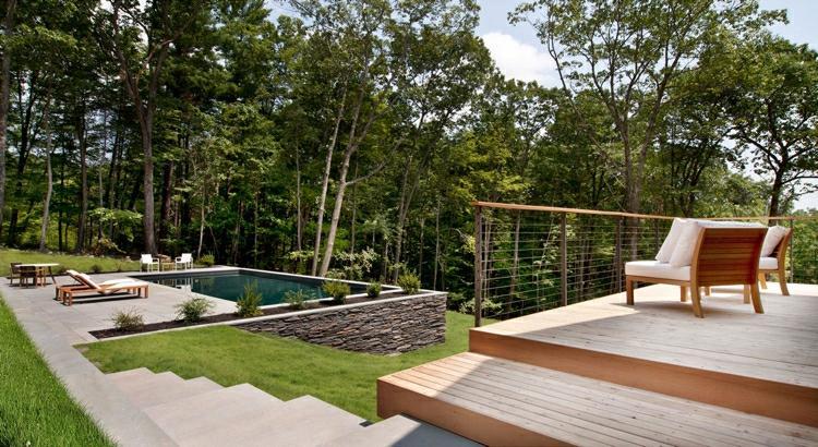 suelo madera terrazas jardin escalera ideas