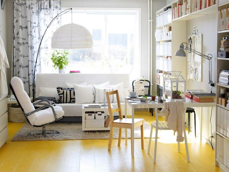 suelo pintado amarillo muebles blancos ideas