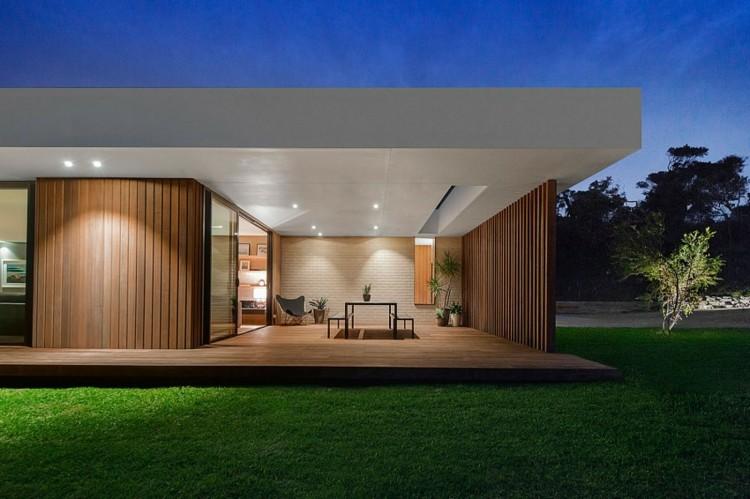 suelos de madera terraza residencia moderna ideas