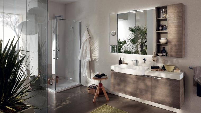 taburete madera ducha bano moderno ideas