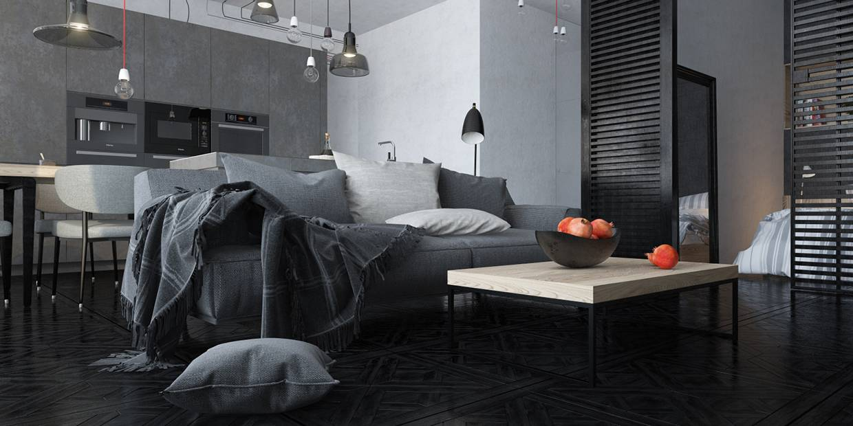 diseño piso loft gris