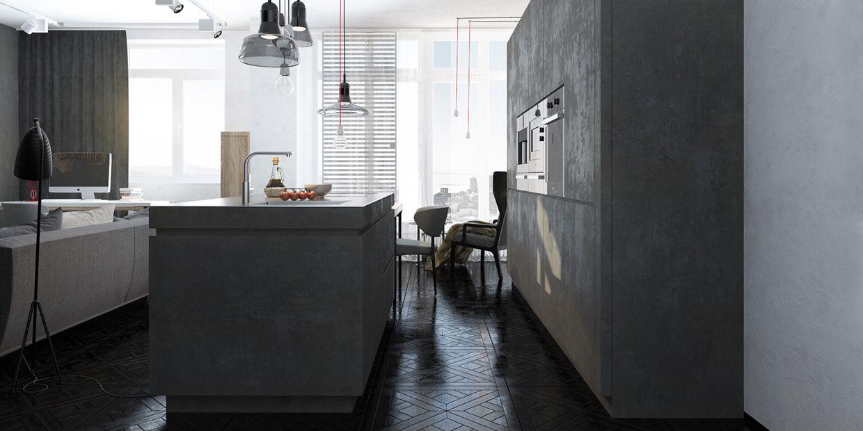 muebles cocina modernos cemento