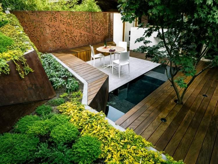 terrazas jardin elementos corten