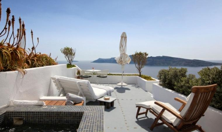 terraza grecia diseno dos tipos tumbonas ideas