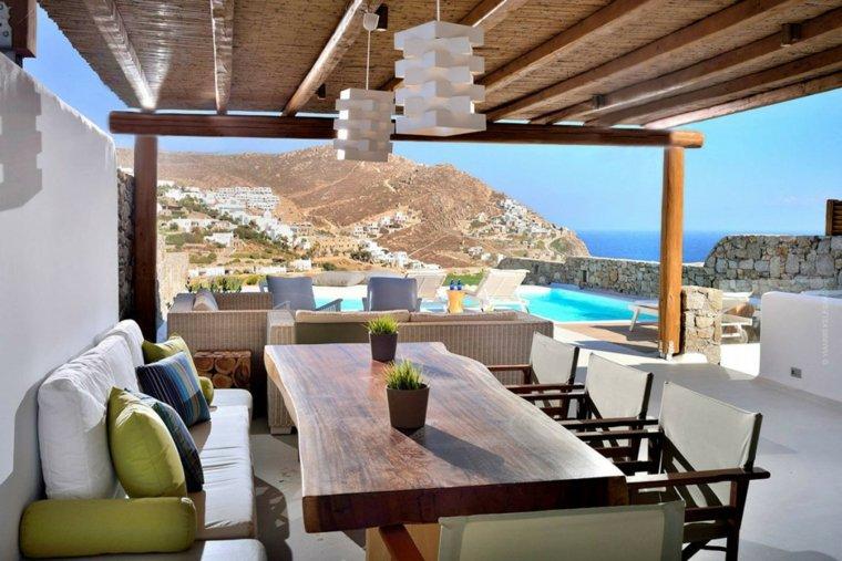 terraza grecia diseno mesa madera natural ideas