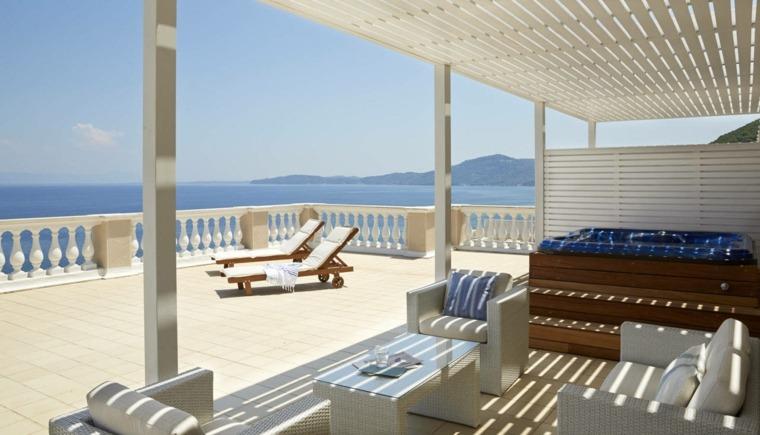 terraza grecia diseno pergola madera blanca ideas