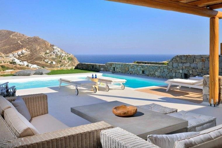 terraza grecia diseno pergola madera sillones ideas
