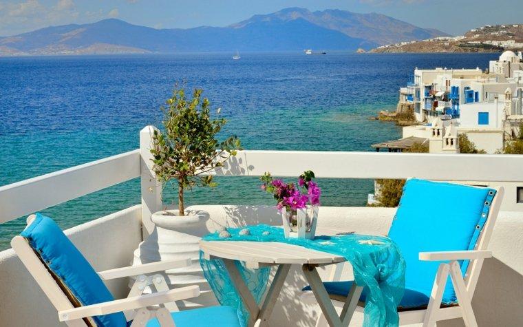 terraza grecia diseno sillones blancos madera ideas