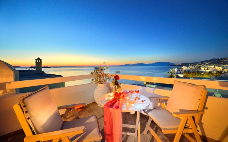 terraza grecia diseno sillones madera ideas