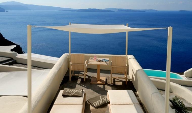 terraza grecia diseno toldo espacios pequenos ideas
