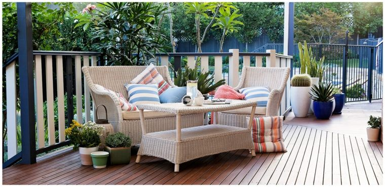 terraza jardin muebles rattan blanco ideas