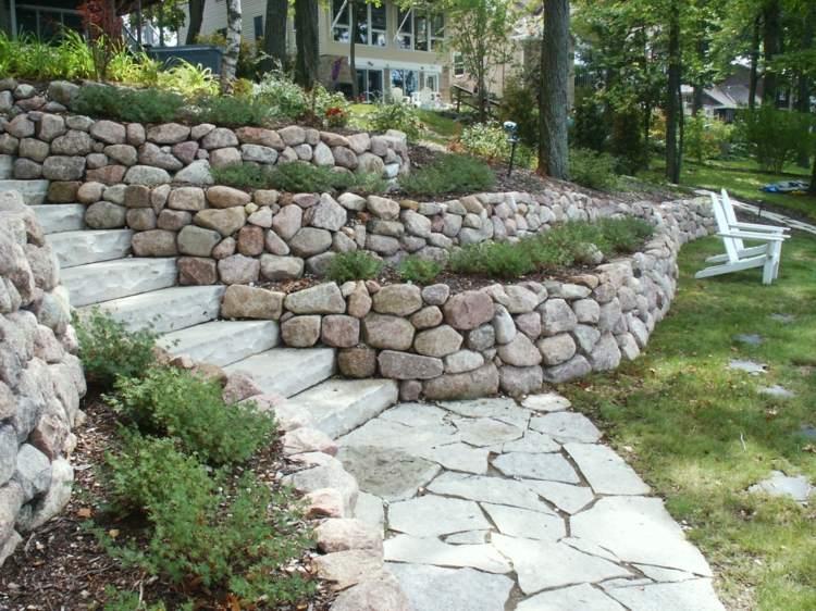 terrazas jardin piedras naturales deco