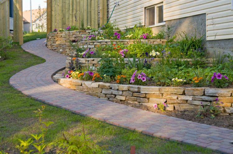 terrazas piedras jardines flores