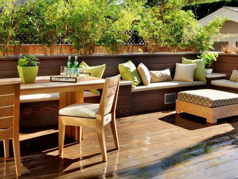 tipos de madera suelo terraza banco mesa sillas ideas