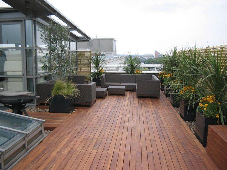 tipos de madera suelo terraza macetas grandes ideas