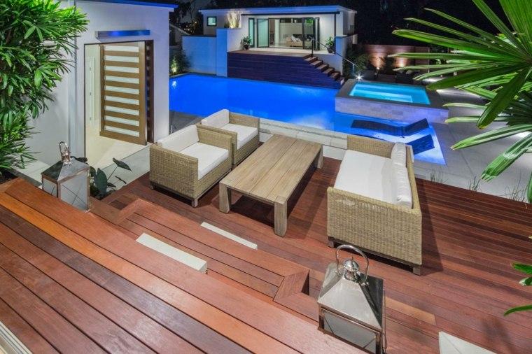 tipos de madera suelo terraza muebles rattan blanco ideas