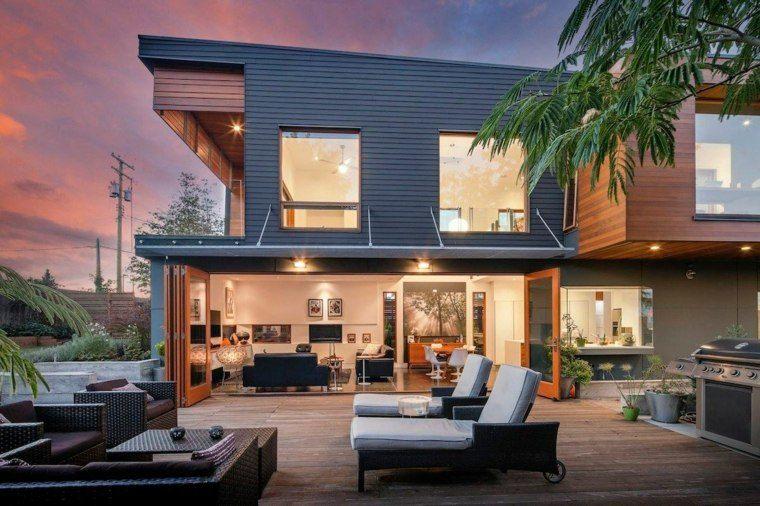 tipos de madera suelo terraza residencia moderna ideas