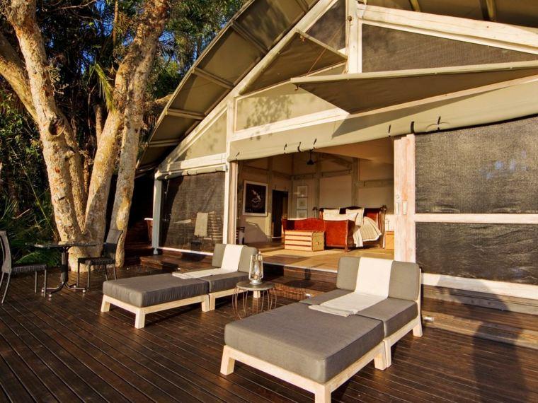 tipos de madera suelo terraza tumbonas aire libre ideas