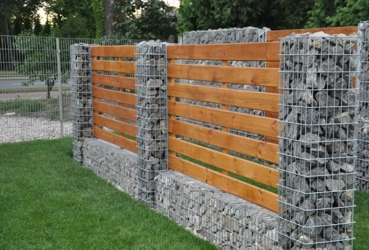 Gaviones y muros de alambre y piedras 63 dise os - Cerramientos de madera para jardin ...