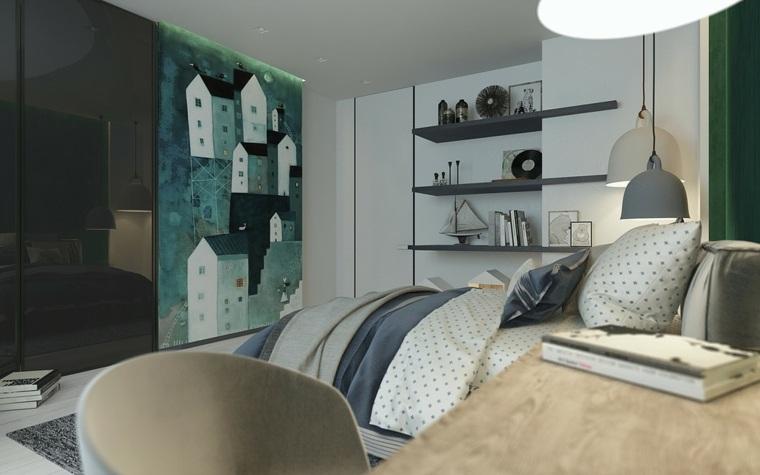 verde cama estilo deco moderno