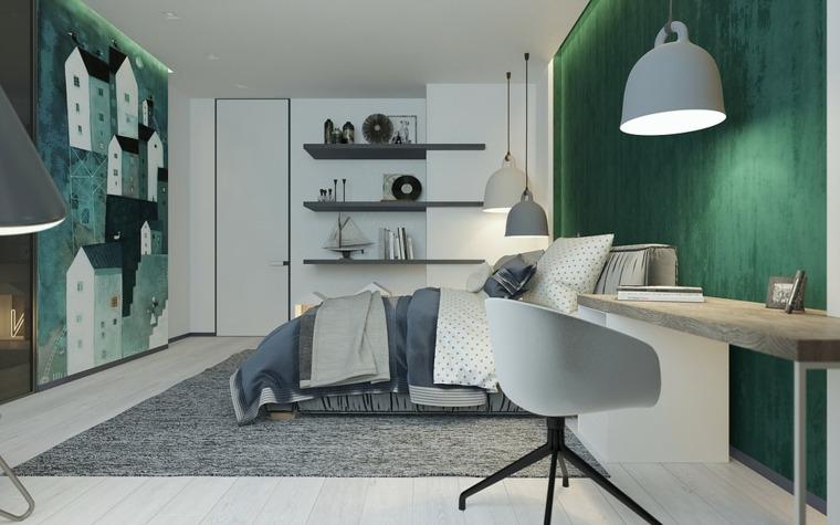 decoración habitacion tonos frios