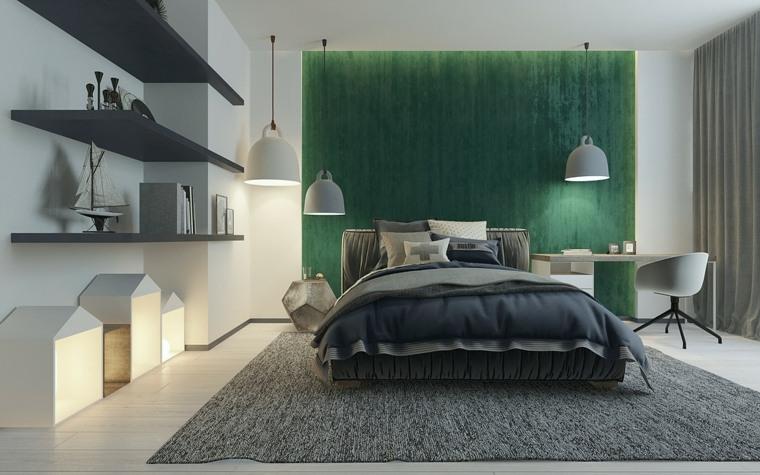 verde color pared cabecero moderno