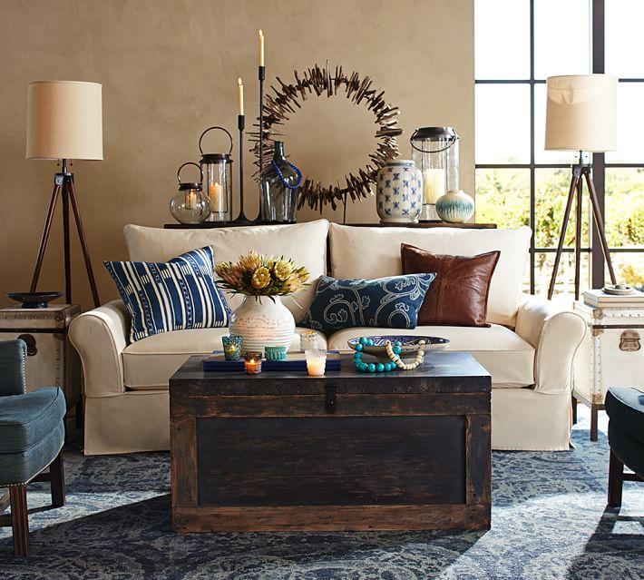 alfombra azul salon moderno lana ideas