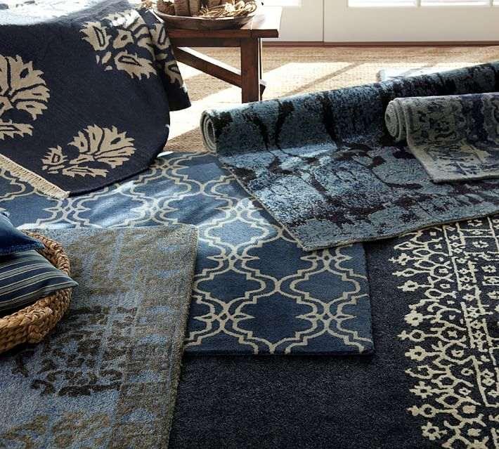 alfombras color azul indigo hechas mano ideas