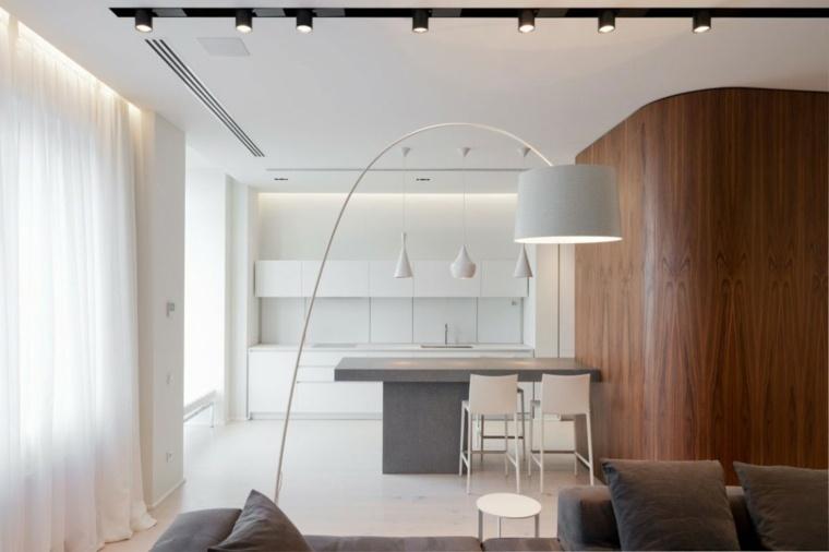 apartamento moderno cocina blanca mesa gris ideas