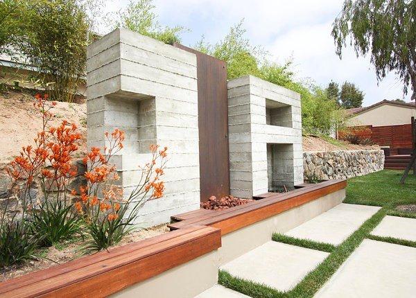 arbustos jardin moderno flores naranja ideas