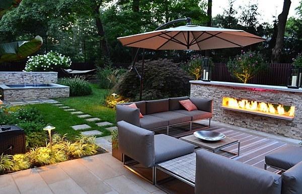 arbustos jardin moderno lugar fuego muebles ideas