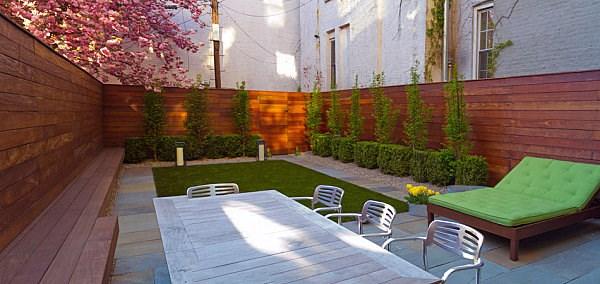 arbustos jardin opciones valla madera mesa comidas ideas