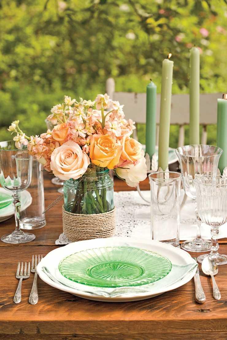 arreglos florales centro mesas rosas frasco vidrio ideas