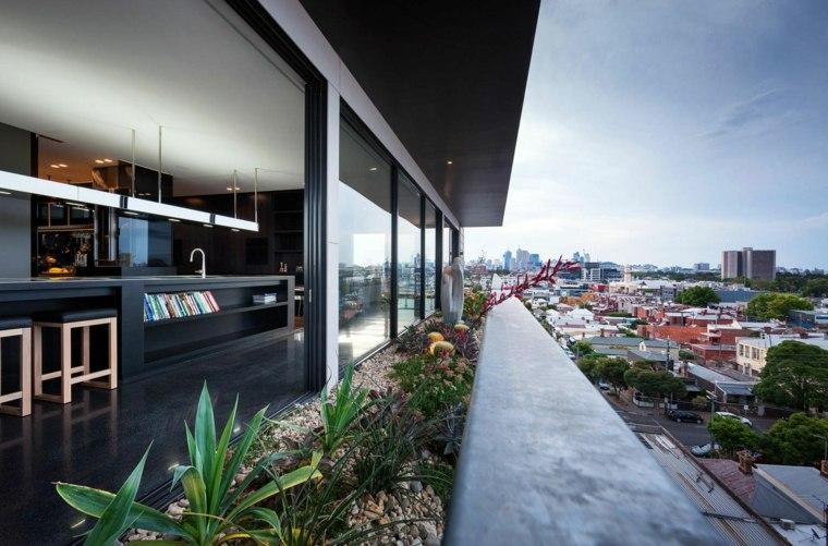 terraza moderna jardineras plantas