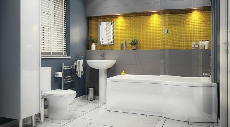 azulejos baño gresite amarillo