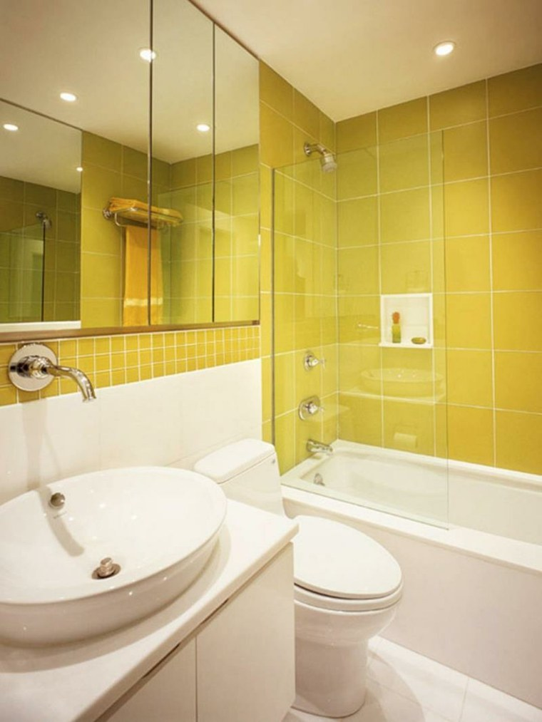Baños Amarillos Pequenos:Los azulejos de baño modernos presentan formas y acabados muy