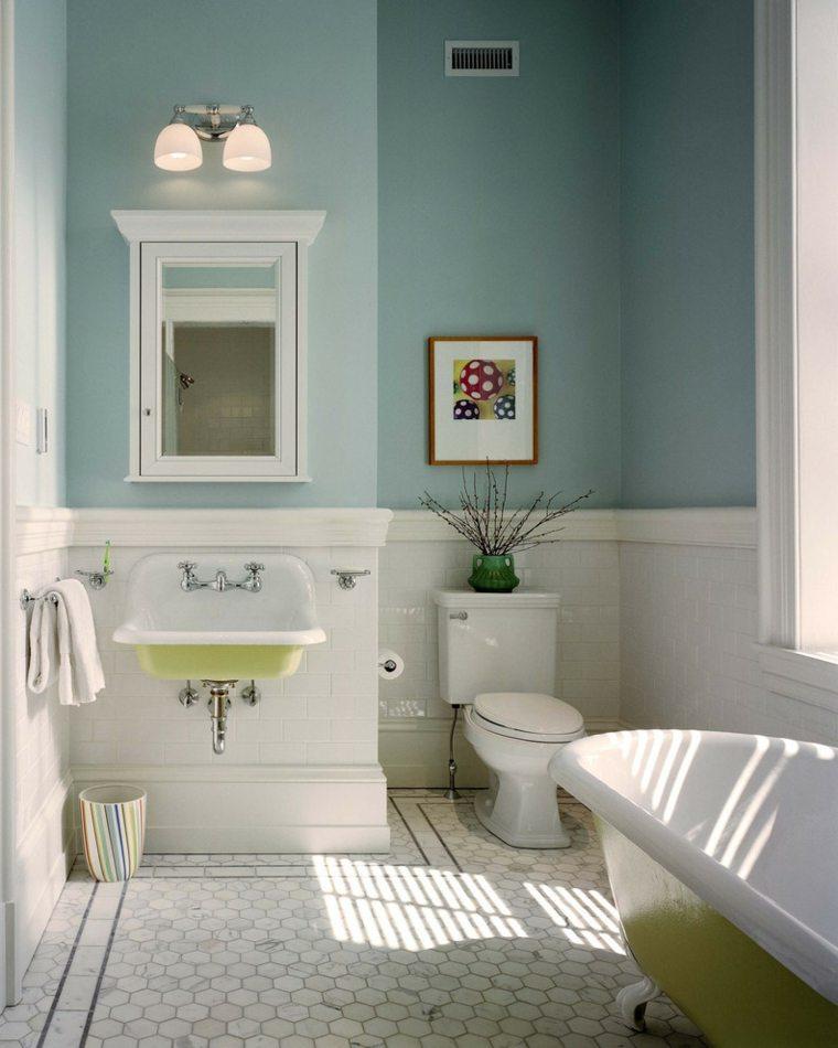 baño ideas colores suaves pasteles cuadros