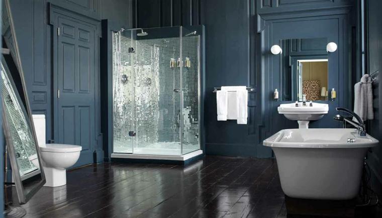baño moderno azul marino
