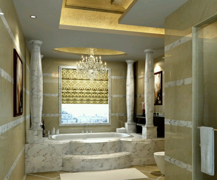 bañera lujosa columnas mármol