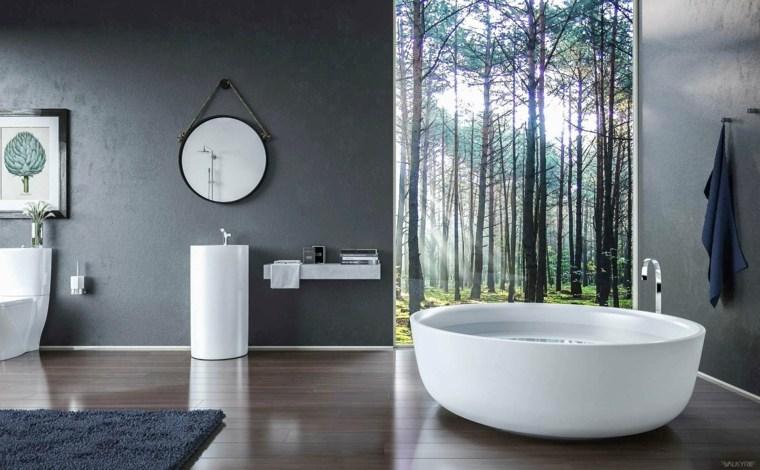 bano lujoso paredes grises