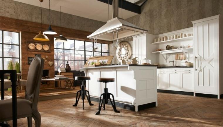 blanca cocinas estantes colores suelos abiertas
