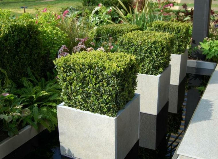 bloques cemento jardineras modernas cubos
