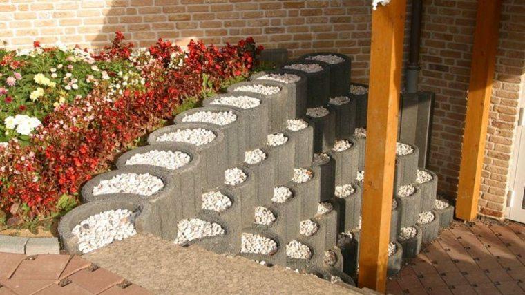bloques cemento redondos deco jardin