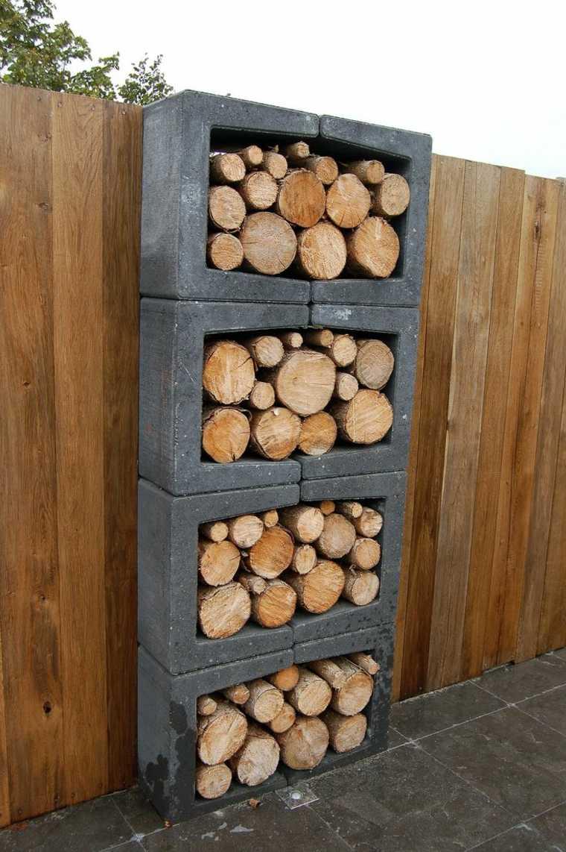 bloques hormigon lugar almacenar troncos