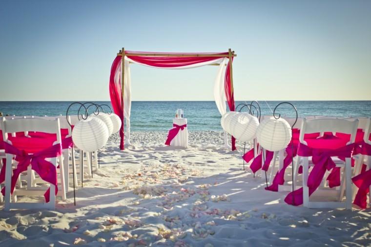 boda playa altar deco rosa