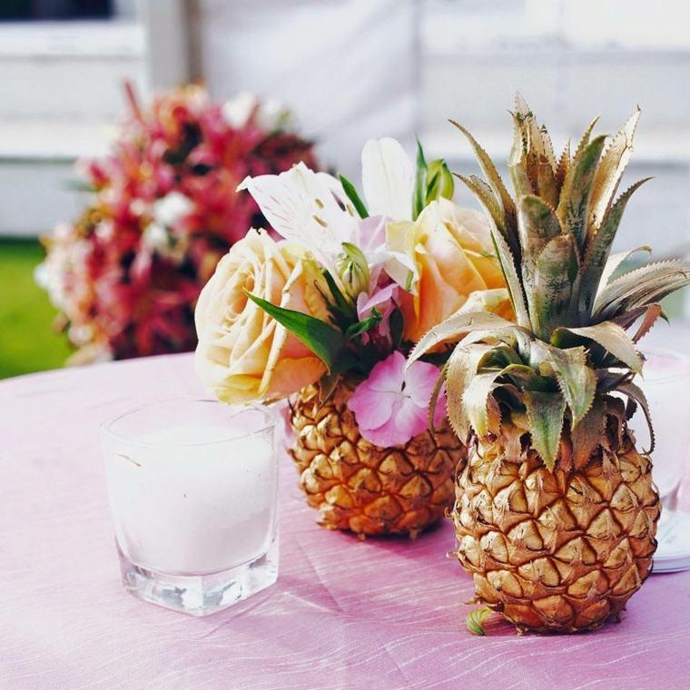 bodas verano centros mesa piñas