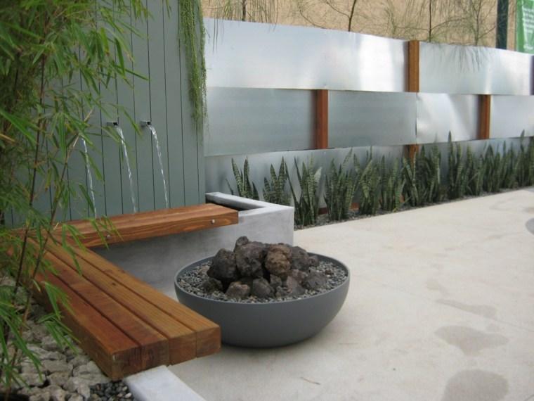 diseo de jardn moderno con fuente bonita decoracin pozo fuego